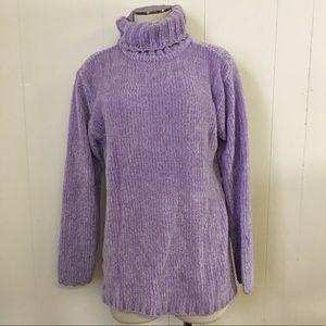 Vintage 90s Pastel Lilac Purple Turtleneck Sweater
